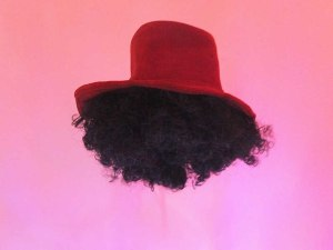hat+fro, leather hat, afro wig, 2015