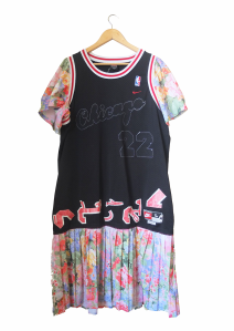 NBA Granny, basketball jersey, floral dress, 2014 (front)